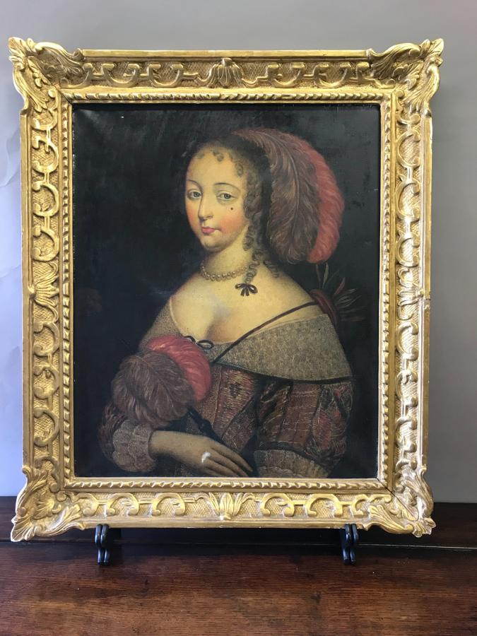 18th Century Portrait Of A Lady (oil On Canvas)
