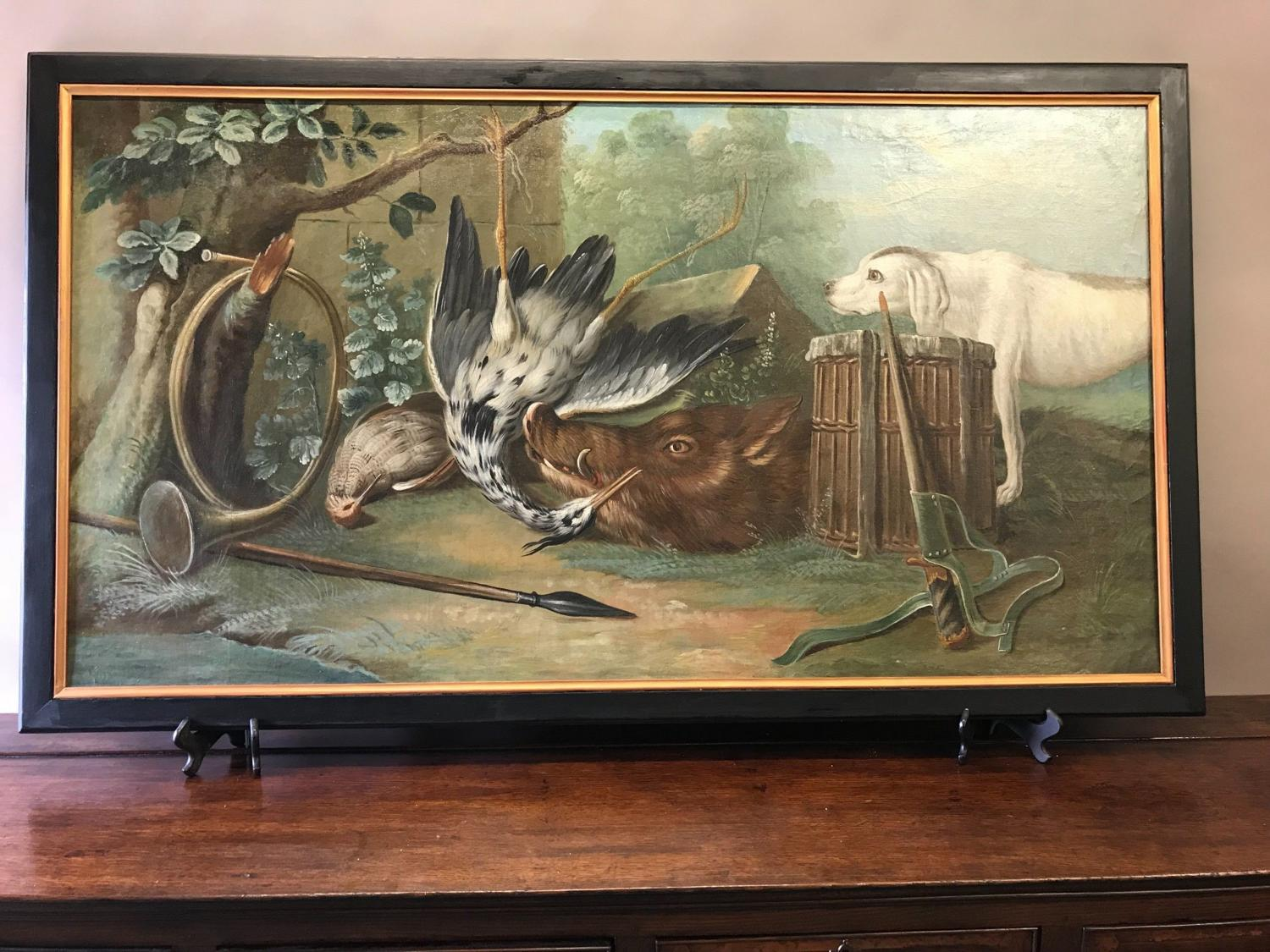 Large Hunting Still Life 18th Century Oil Painting