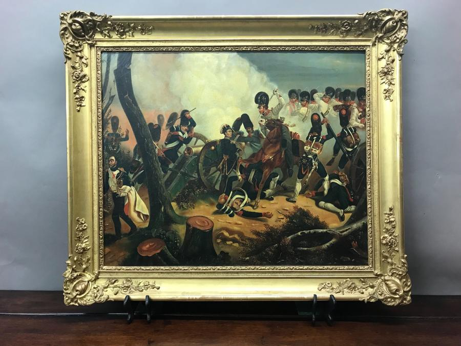 A 19th Century Oil Painting Of A Battle Scene, Possibly Waterloo