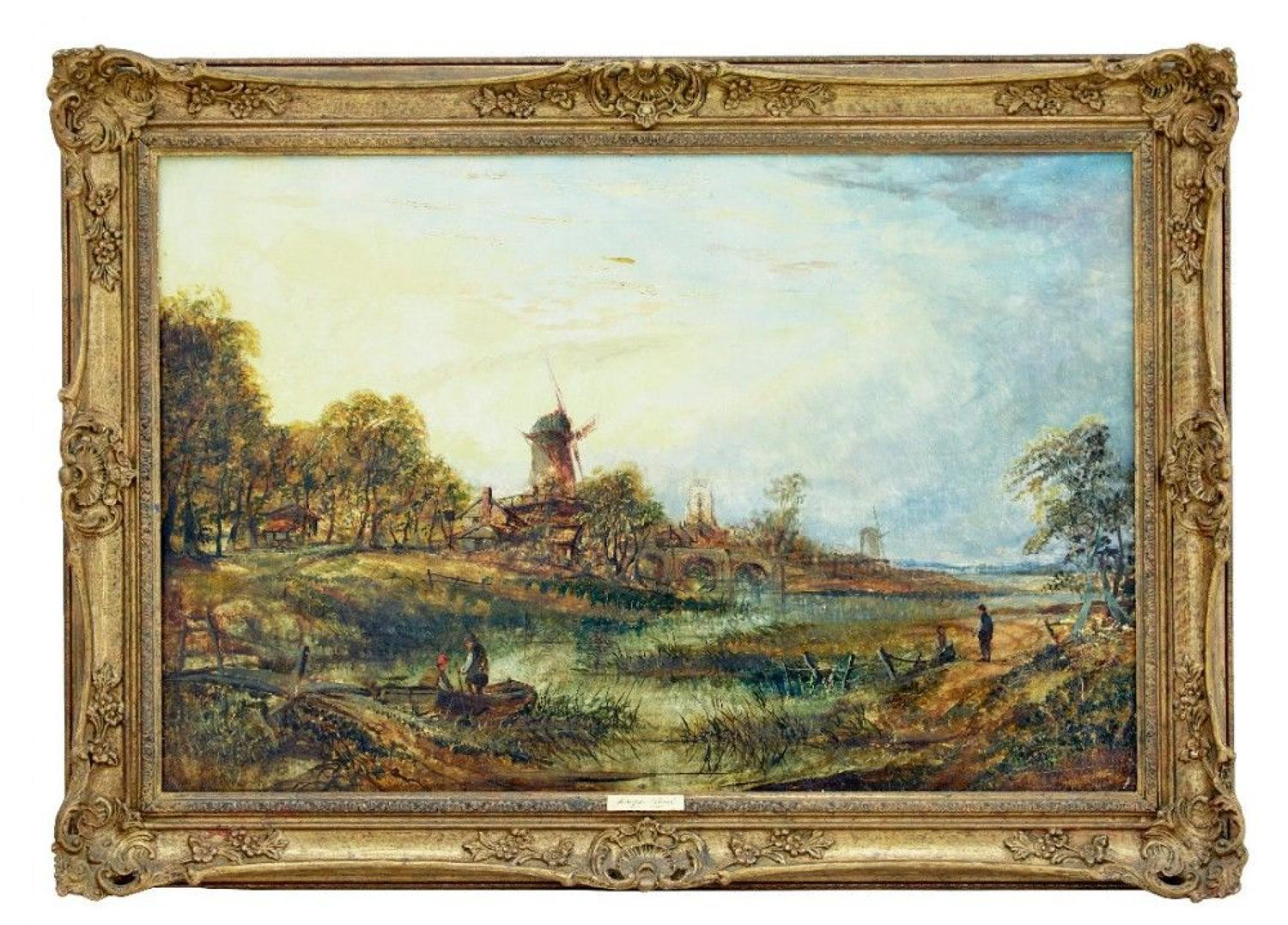 19th Century Landscape Oil On Canvas By Joseph Paul