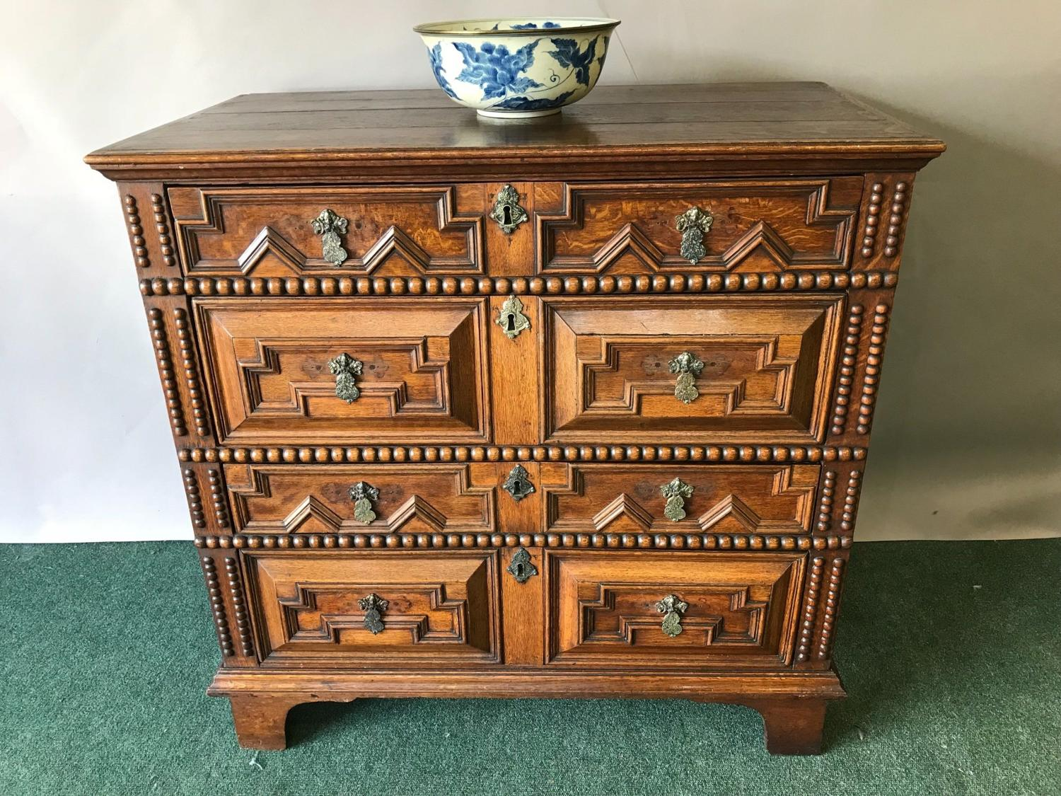 Late 17th Century Oak Geometric Front Chest Of Drawers