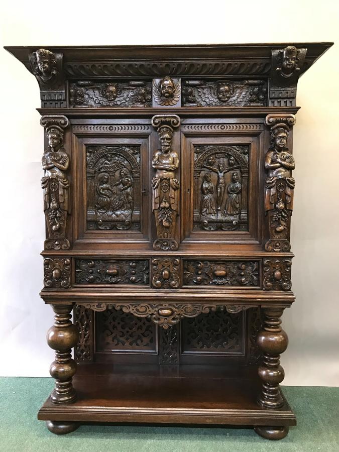 Important Carved Oak Renaissance Style Hall Cupboard