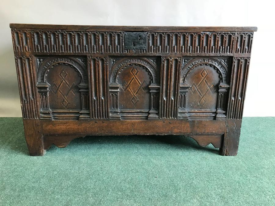 A Superb Early 17th Century Oak Coffer