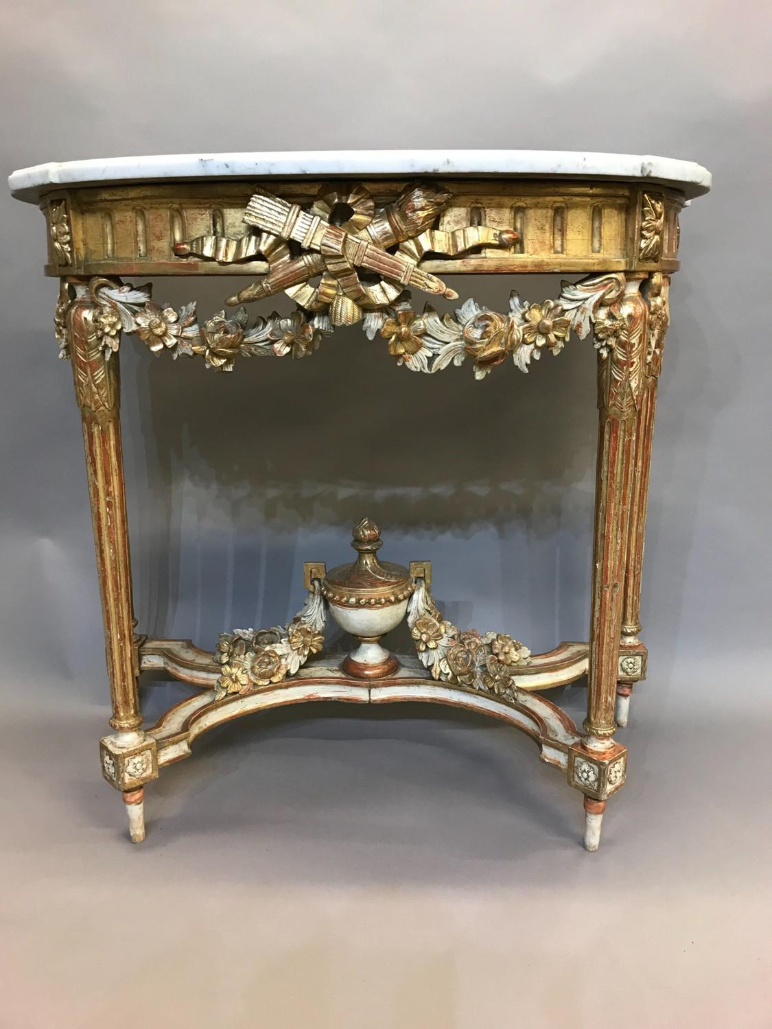 19th Century Marble Topped Gilt Wood French Consul Table