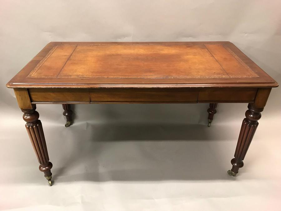 A Very Fine Quality Mahogany Library 3 Drawer Writing Table