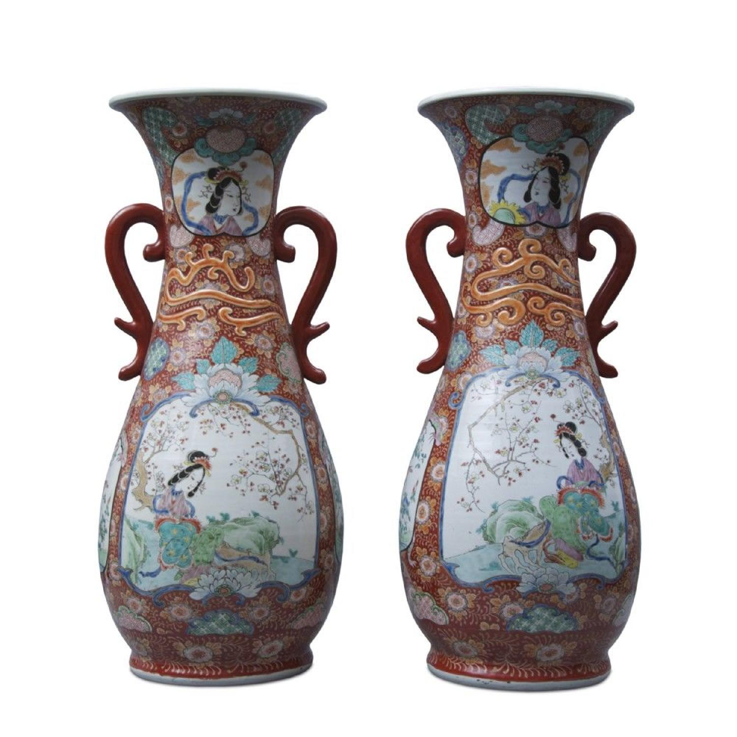 A Large Pair Of Late 19th Century Japanese Floor Vases
