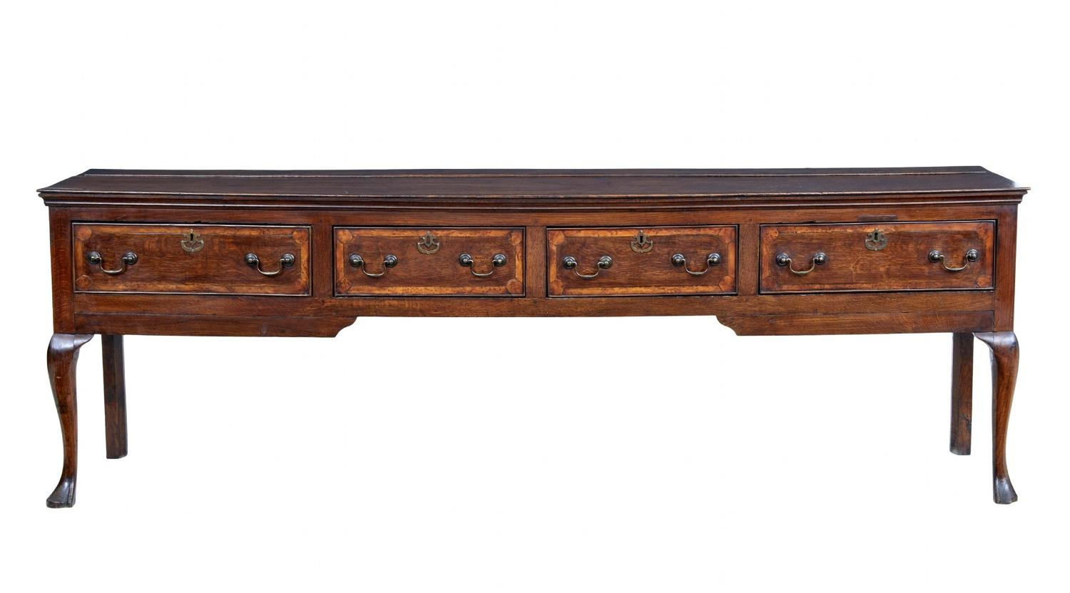 A Superior Quality Large 8ft Oak Cabriol Legged Server/dresser