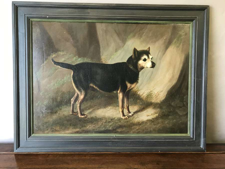 Early 19th century oil painting of a terrier